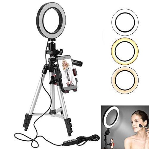 Support Téléphone avec Selfie Ring Light, leegoal 5,7'' LED Selfie Lumière avec Trépied réglable, 3-Mode d'Eclairage, 11 Niveau Luminosité et 360 Rotation du degré pour Youtube/Live Stream