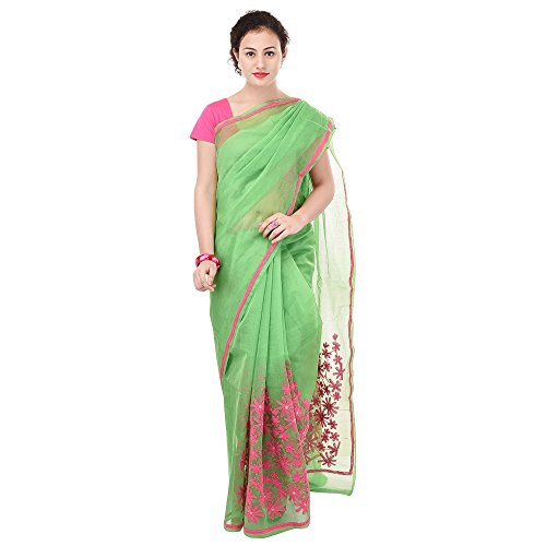 Luvit Women's Aari Work Pure Banarasi Cotton Supernet Saree With Blouse (Green)