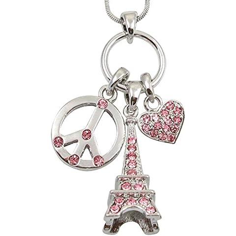 Plata tono 3d rosa de cristal de la torre Eiffel, símbolo de la paz collar colgante de corazón