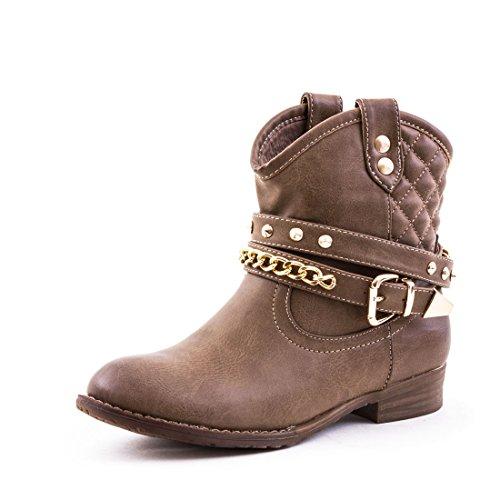 Marimo Damen Western Cowboy Boots in Hochwertiger Lederoptik mit Nieten Khaki 37 -