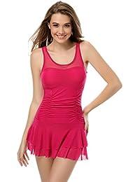 SZIVYSHI Maillot de bain 1 une pièce femme monokini rose rouge