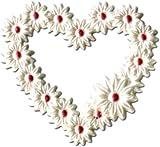 Verzierwachs- Blütenherz, weiß/perlmutt ME36333