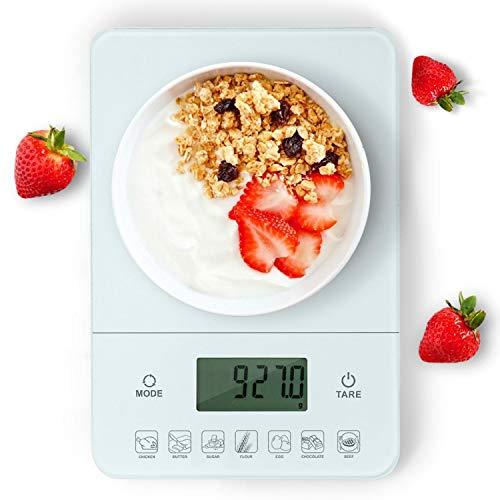 Aigostar Calorie 33LDF - Bilancia da cucina digitale con contacalorie in vetro temperato, bilancia multifunzione per alimenti con display LCD. 22 libbre (10 kg). Batterie escluse Design esclusivo