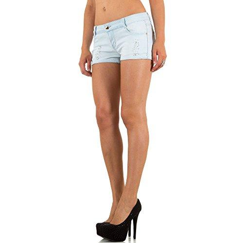 Damen Shorts, DESTROYED HÜFT JEANS HOT PANTS SHORTS, KL-J-F6056 Blau