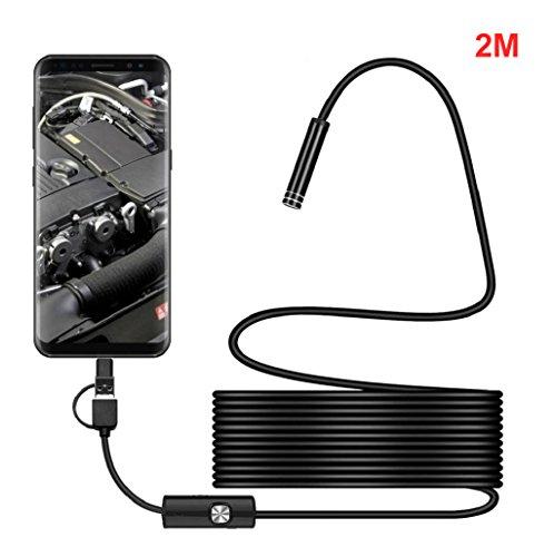 Sannysis Camara Endoscopio USB, Full HD Boroscopio Endoscopio 3 in 1 Android USB Type-C Inicio Impermeable Inspección de Video Boroscopio Visual Cámara (2M)