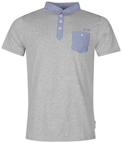 Stylischer Herren Short Sleeve Chambray Polo Shirt Top Grau - Grau (Grey Marl)