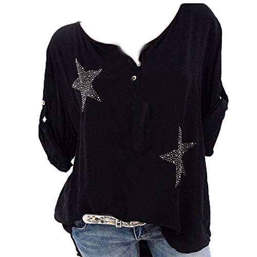 Tv Figur Und Schwarz Kostüm Weiß - BHYDRY Frauen-Knopf fünfzackiger Stern heißer Bohrer Plus Größe übersteigt Bluse(Schwarz,XXX-Large)