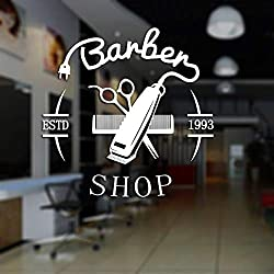 shiyueNB Homme Coiffeur Autocollant ESTD Côtelette Pain Décalque De Cheveux Coupe De Cheveux Tondeuse Rasoirs Affiche Vinyle Mur Art Stickers Décor Windows 5 40x40cm