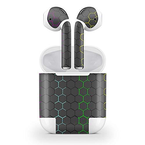 Skins4u Design Aufkleber Schutzfolie Vinyl Skin kompatibel mit Apple AirPods 1G Exo Black Rainbow