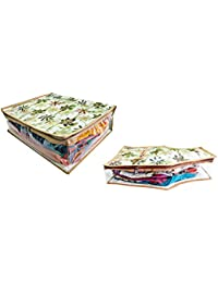 DIVYANA™ Combo Set Of Floral Print Saree Cover Bag And Blouse Cover Triple Layered Clothes Organiser - Large