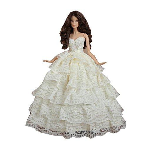 Handmade Belle robe de soirée pour Little Doll Toy, blanc