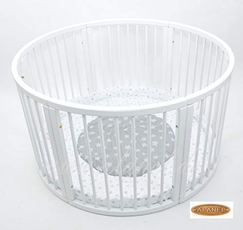 Rundes Laufgitter Playpen Play Pen mit Softeinlage Ø 120cm (DUE WHITE STARS)