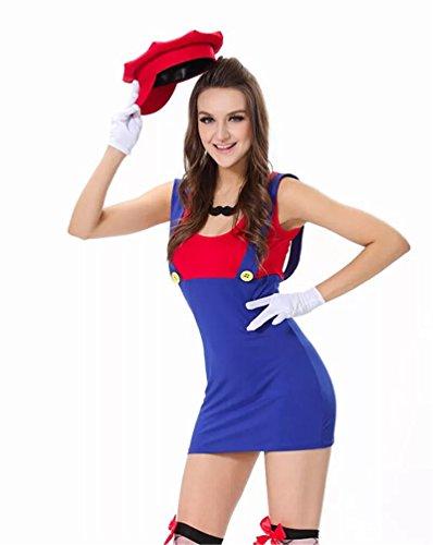 thematys® Super Mario Luigi Gorra + Vestido + Barba + Guantes - Conjunto de Vestuario para Mujer Carnaval y Cosplay