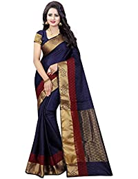 Wedding Villa Women's Banarasi Silk Jacquard Woven Saree With Blouse Piece - WONDER_BLACK_Free Size