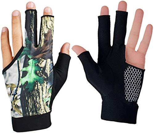 NMDD Billard Handschuh Snooker Shooter Queue Pool Handschuhe Open 3 Finger für Herren Damen, 1 Paar Arbeitshandschuhe (Farbe: Grün, Größe: L)