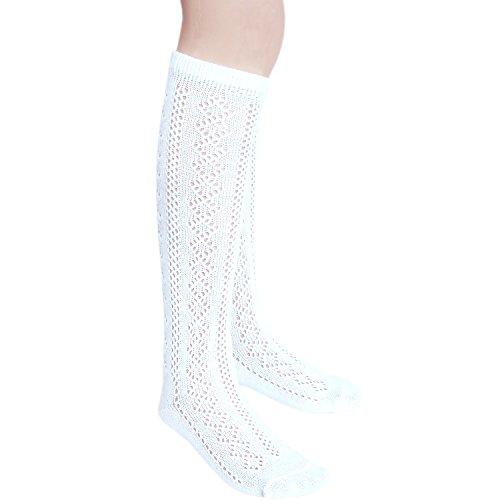 Mädchen Schule Kniestrümpfe  volle Länge Pointelle Jakobsmuschel top Baumwolle reich (23-26, 3 Paare Weiß) (Kniestrümpfe Weiße Mädchen)