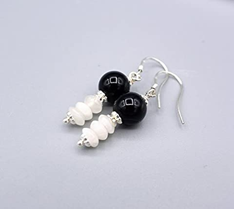 Onyx Ohrringe - zierliche Onyx Achat Ohrhänger - schwarz weiße Ohrringe - 925 Silber