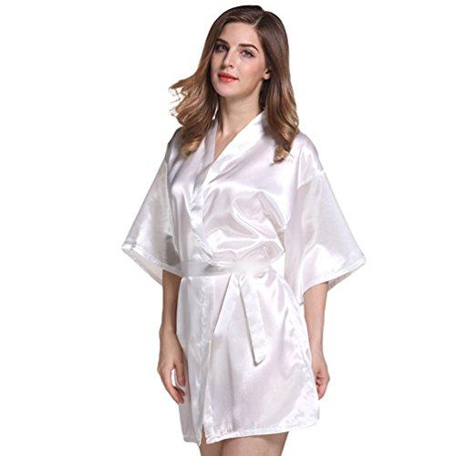 CHENGYANG Damen Kurz Morgenmantel Satin Nachtwäsche Angenehmer Kimono Seidenrobe Schlafanzug Weiß