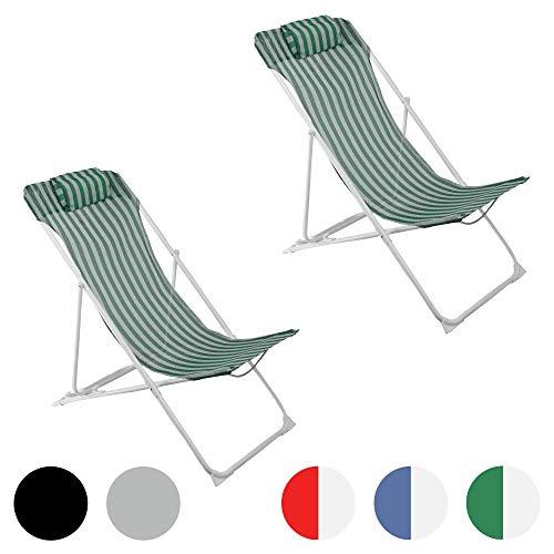 Harbour Housewares, Sedia a Sdraio da Giardino, in Metallo, 3 Posizioni, a Righe Verdi/Bianche - Set da 2