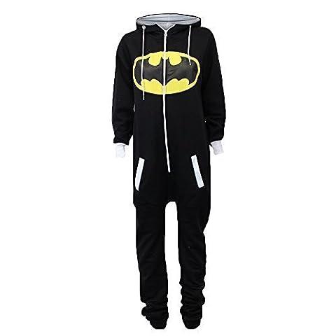 Damen Overalls Batman Superman Body All In One Sommer Overall Mit Kapuze - Schwarz - SABATMAN2, L (Pyjama Overall)