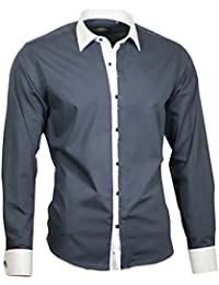 49013ab44a3198 Louis Binder de Luxe Herren Hemd Shirt weißer Kragen und Manschetten modern  fit Langarm 809