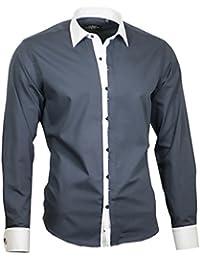Louis Binder de Luxe Herren Hemd Shirt weißer Kragen und Manschetten modern  fit Langarm 809 2a38c6e2fc