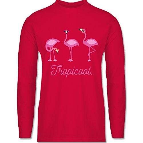 Shirtracer Vögel - Tropicool Flamingo Gang - Herren Langarmshirt Rot