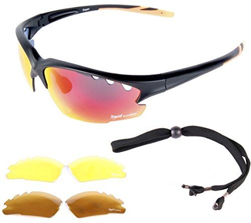 Expert Schwarz matt verspiegelt SPORT SONNENBRILLE - Wechselgläser - ideal autobrille, nachtbrille, running brille, segeln brille usw. UV schutz 400. Für Herren und Damen