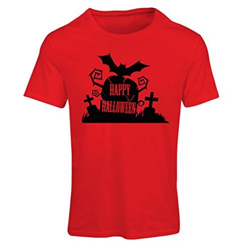 Frauen T-Shirt Halloween-Friedhof - Kostüm-Ideen - Coole Kleidung Horror-Design - All Hallows 'Abend (Large Rot Mehrfarben)