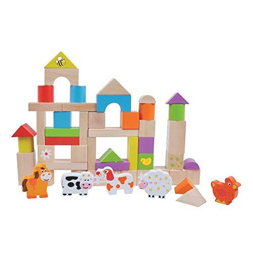 Childrens Holz-Spielzeug-Stacking und Building Blocks Tiere auf dem Bauernhof 50pcs durch jumini ®