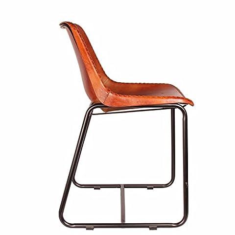 Upper-STYLE INDUSTRIEL CHAISE CHAISE fauteuil en cuir marron en Cuir METAL CHAISE DE SALLE À MANGER