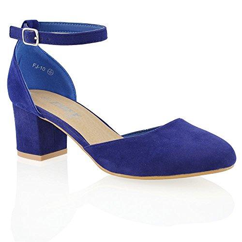 Nuovo Sandalo Donna Tacco a Blocco Medio-Basso Cinturino alla Caviglia Fibbia Azzurro Finto scamosciato