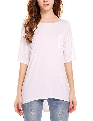 Meaneor Damen Sommer Sexy Oberteil Rückenfrei T-Shirt Rundhals Halbarm Tops Bluse Mit Schnürung Weiß