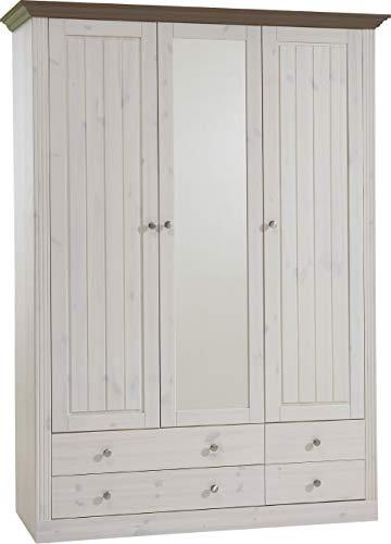 Steens Monaco Kleiderschrank, 3 Türen und 3 Schubladen, 145 x 201 x 60 cm (B/H/T), Kiefer massiv, weiß/grau