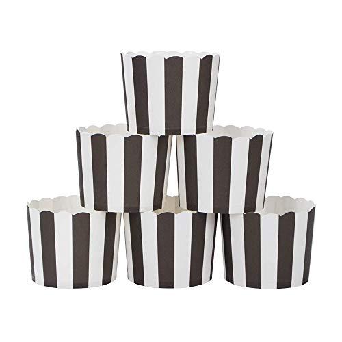Webake Muffin Förmchen Papier in Weiß und Schwarz, Kuchenkörbchen für Cupcake im Backtage, Geburtstage, Teekränzchen, Hochzeiten und Partys 25 Stück