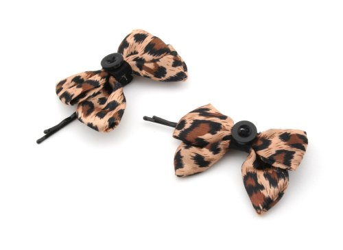 2 Pretty Brown Leopard Print Satin Bow & Button Hair Slides Clips by Zest by Zest