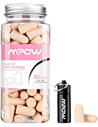 Ear Plugs Mpow 34db Highest NRR EarPlug 60 Pairs Soft foam Ear Plug with Aluminum Carry Case No Cords Noise Reduction Ear-plugs Sponge Ear Plugs For Sleeping ,Concert ,Hearing Protection, Hunting Season,Travel,Snoring, Working,Study ,Shooting