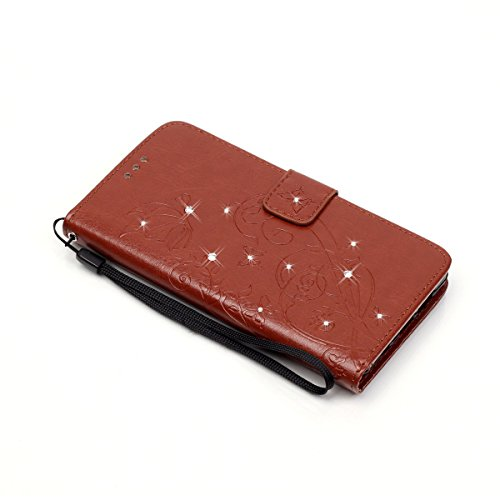 JAWSEU Coque Étui pour iPhone 7 en Cuir Portefeuille,iPhone 7 Etui Folio Pu,iPhone 7 Étui à Rabat Magnétique Housse Etui,2017 Neuf Bling Brillante Laser Désign Flip Pu Wallet Case Ultra Slim Leather F Marron/strass