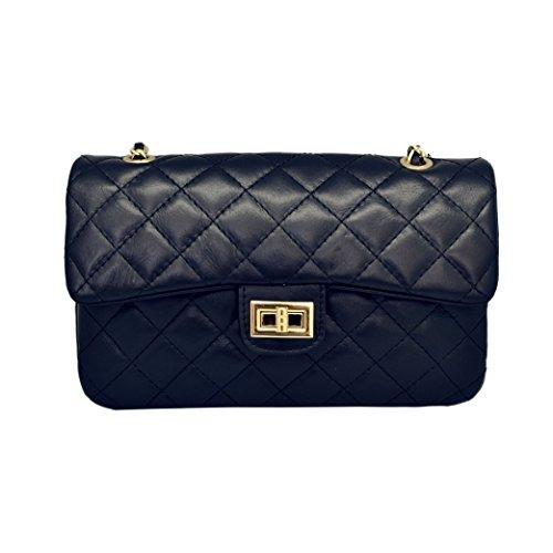 COSTANZA MEDIUM Schulter Clutch Handtasche, große gesteppte Leder Handtasche mit Licht Gold Kette Leder Schulter, glattes weiches Leder (Blau Medien) (Handtaschen Chanel Leder)