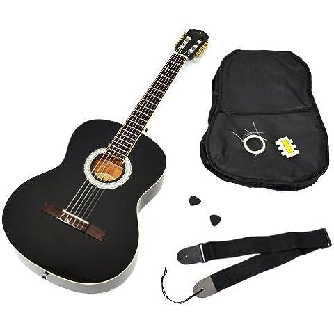 Ts-ideen - Guitarra clásica (tamaño 4/4, con diapasón de palisandro, incluye funda acolchada, correa, cuerdas y silbato afinador), color