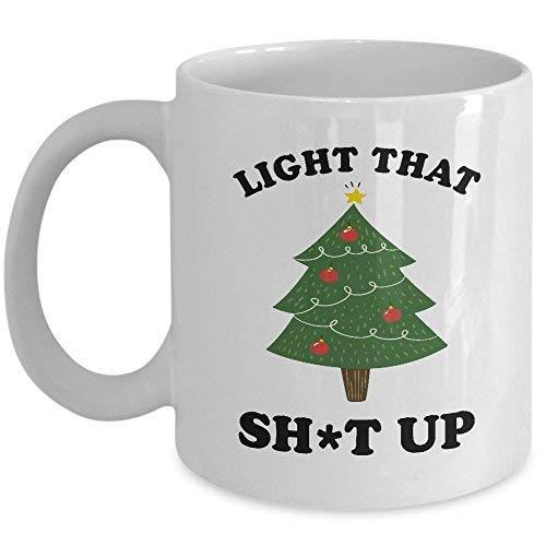 Light It Up Mug Christmas Tree Coffee Mug Funny Gift for Xmas Lovers 11oz Novelty Ceramic 11 Oz Novelty Tea Cup Coffee Mug -
