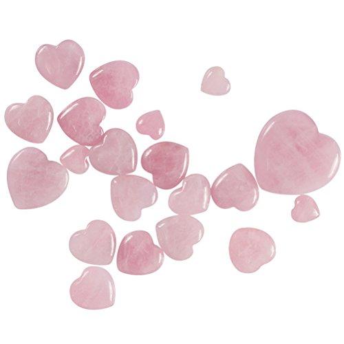 OUNONA Colgante de cuarzo rosa natural con forma de corazón y piedra de cristal curativa para decoración del hogar, 15 x 15 x 10 mm