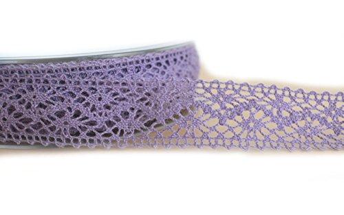 Spitzenband Lavendel 1 m 25 mm METERWARE (1,86€/m) Spitze Baumwollspitze Lila Flieder Häkelband Spitzenborte Hochzeit Dekoband Landhaus Vintage Schleifenband