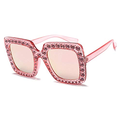OULN1Y Sport Sonnenbrillen,Vintage Sonnenbrillen,Luxury Designer Big Crystal Sun Glasses Square Shades Women Oversized Sunglasses Retro Top Rhinestone
