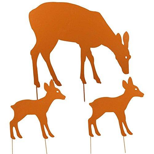 3-tier-eisen (Yahee Edelrost Reh Kitz stehend Edelrost Gartendeko Tier fressend Metall Größewahl (3er Set Rehfamilie))