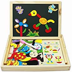 Chinese Fantastic Wooden Multipurpose Easel Children's jigsaw puzzle drawing board wooden toy