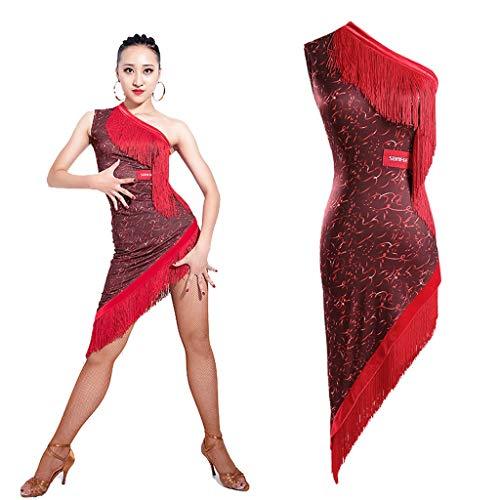 JTSYUXT Frau Professionel Schräge Schulter Mit Fransen Latin Dance Kleid Performance Trainieren Kostüm Tango Rumba Tanzabnutzung (Color : Red, Size : - Rumba Frau Kostüm