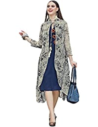 Readymade Blue & Grey Color 14 KG Rayon Kite Printed Top Tunic Kurta Indo-Western Style Fancy Kurti