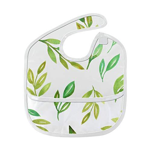 Enhusk Grüner Tee Blätter Frühling weich wasserdicht waschbar Fleck und Geruch beständig Baby Fütterung Dribble Sabber Lätzchen Spucktücher für Kleinkind insgesamt für 6-24 Monate Kinder Geschenke -
