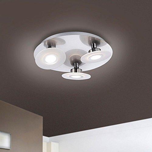 Paul Neuhaus Design / Modern / Deckenleuchte / Deckenlampe / Lampe / Leuchte Ragna 3-flammig Stahl / Silber / nickel matt Dimmer / Dimmbar / Innenbeleuchtung / Wohnzimmer / Schlafzimmer / Küche Metall (Gebürstetem Nickel Leuchten)